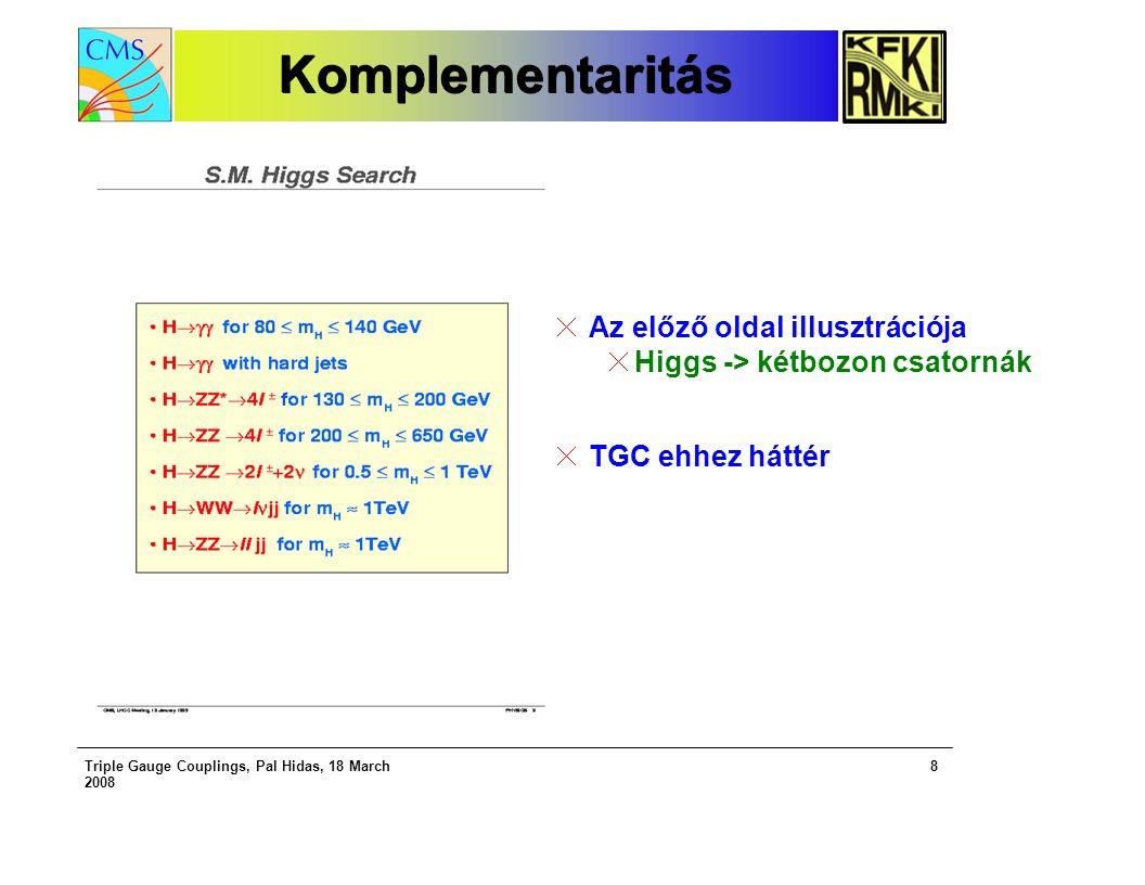 Triple Gauge Couplings, Pal Hidas, 18 March 2008 8 KomplementaritásKomplementaritás Az előző oldal illusztrációja Higgs -> kétbozon csatornák TGC ehhez háttér