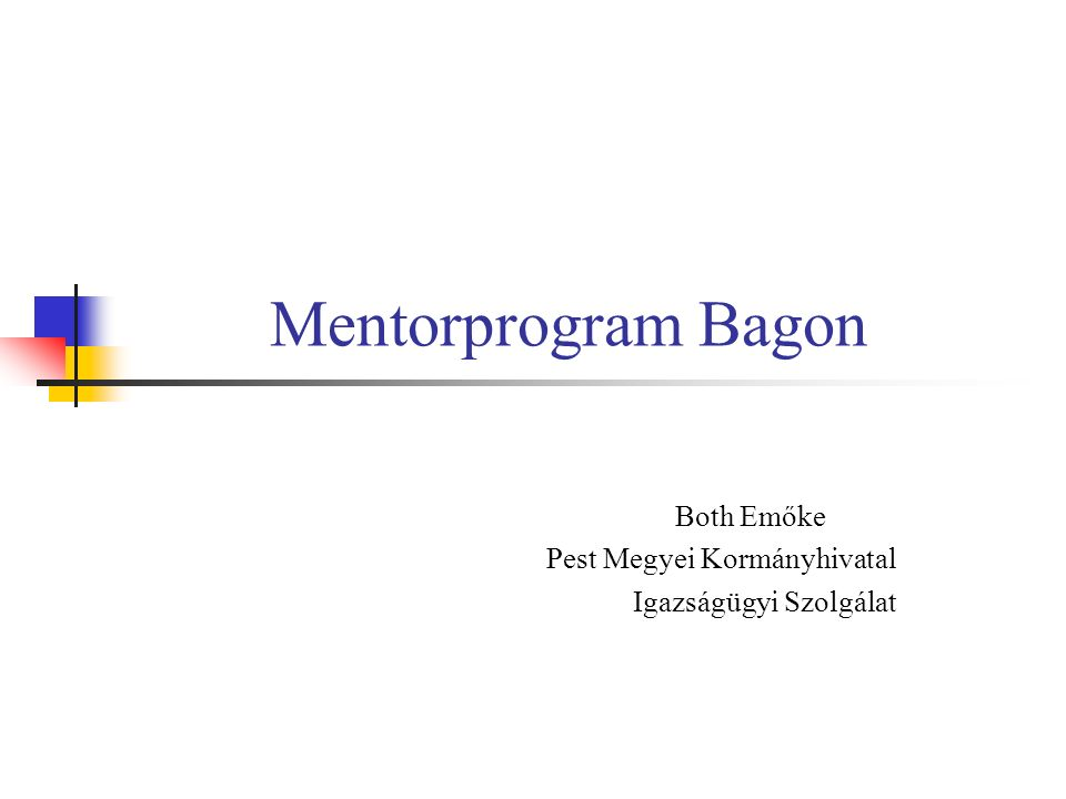 Bagi mentorprojekt előzménye  2009.