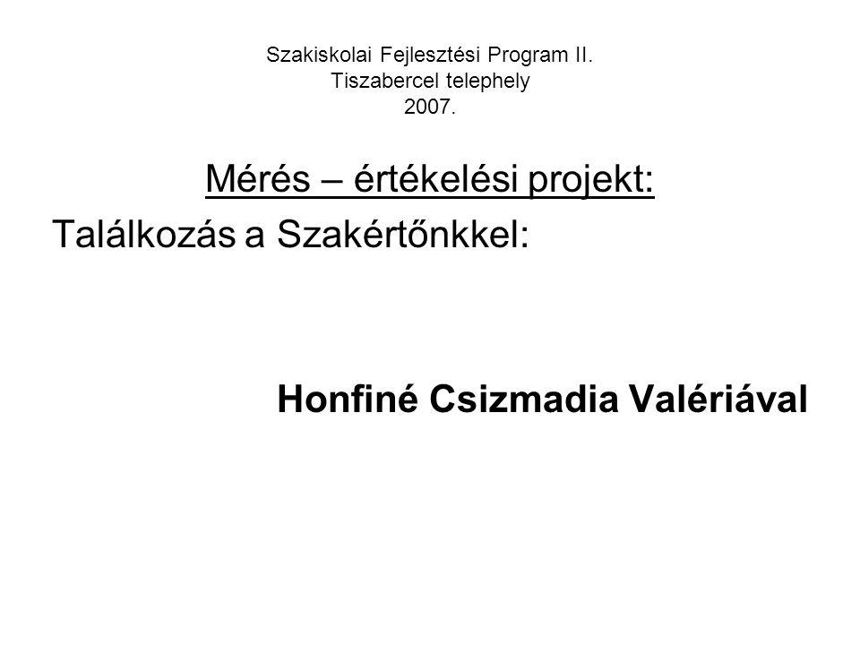 Mérés – értékelési projekt: Találkozás a Szakértőnkkel: Honfiné Csizmadia Valériával