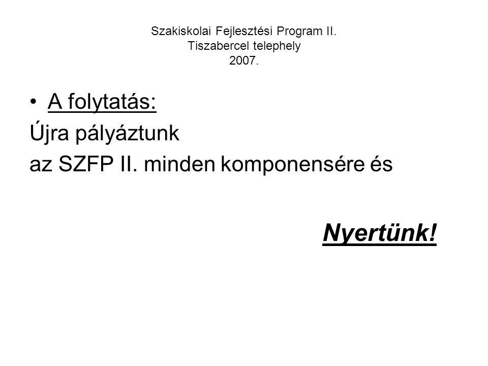 Szakiskolai Fejlesztési Program II. Tiszabercel telephely 2007. Megváltozott az életünk!!!!