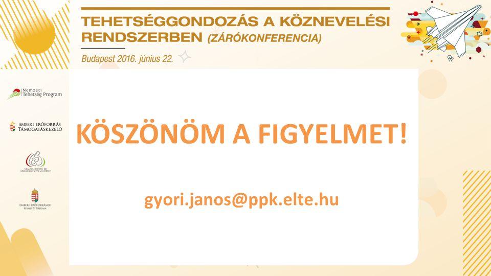 KÖSZÖNÖM A FIGYELMET! gyori.janos@ppk.elte.hu