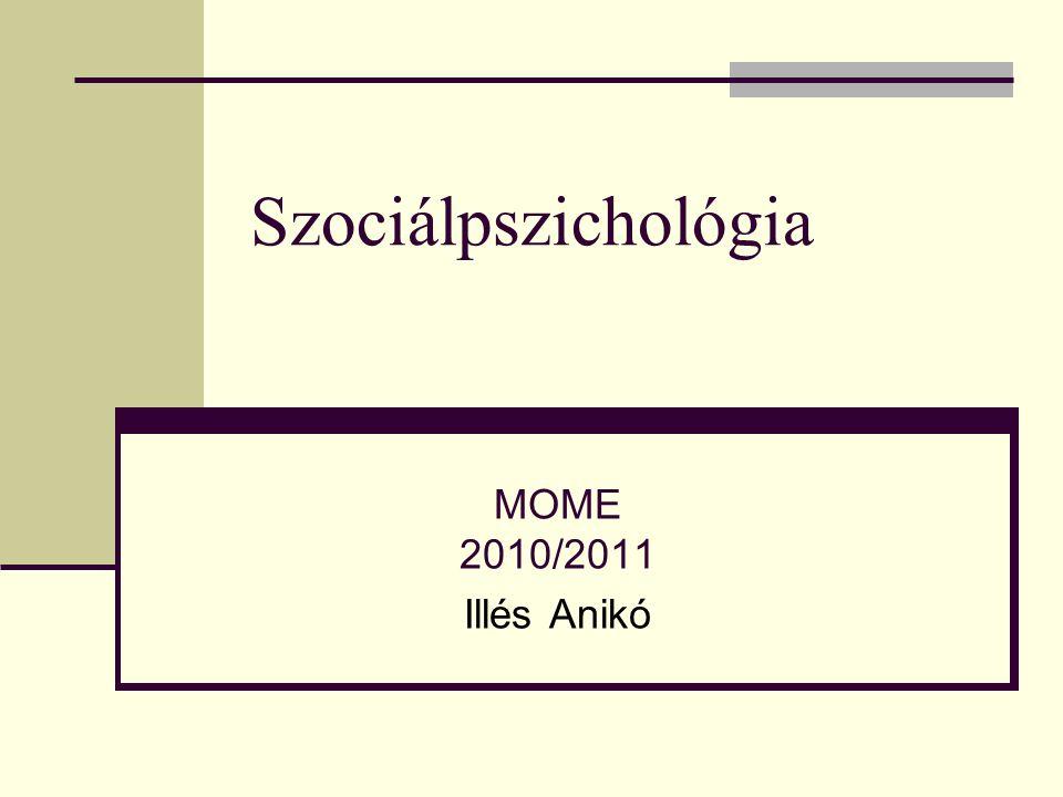 Szociálpszichológia MOME 2010/2011 Illés Anikó