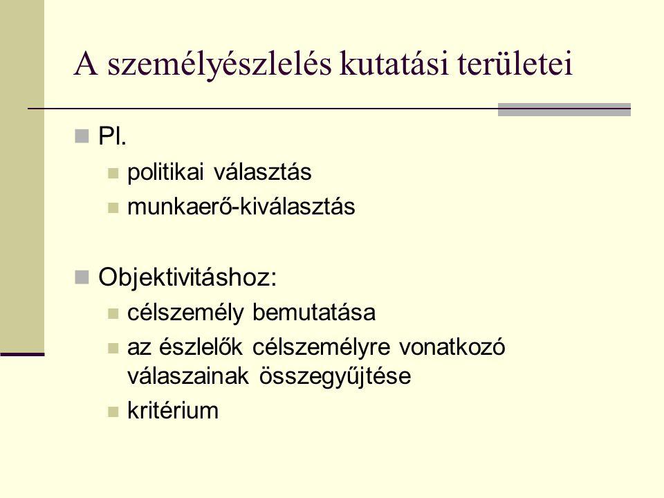 A személyészlelés kutatási területei Pl. politikai választás munkaerő-kiválasztás Objektivitáshoz: célszemély bemutatása az észlelők célszemélyre vona