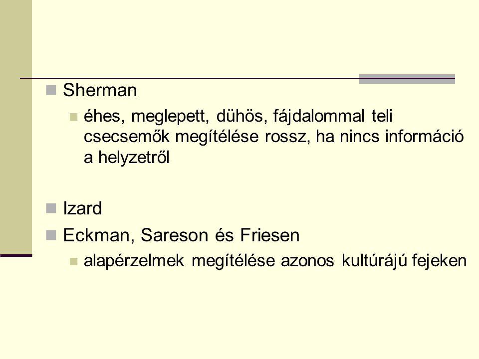 Sherman éhes, meglepett, dühös, fájdalommal teli csecsemők megítélése rossz, ha nincs információ a helyzetről Izard Eckman, Sareson és Friesen alapérzelmek megítélése azonos kultúrájú fejeken
