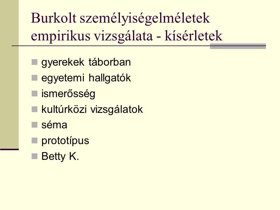 Burkolt személyiségelméletek empirikus vizsgálata - kísérletek gyerekek táborban egyetemi hallgatók ismerősség kultúrközi vizsgálatok séma prototípus Betty K.
