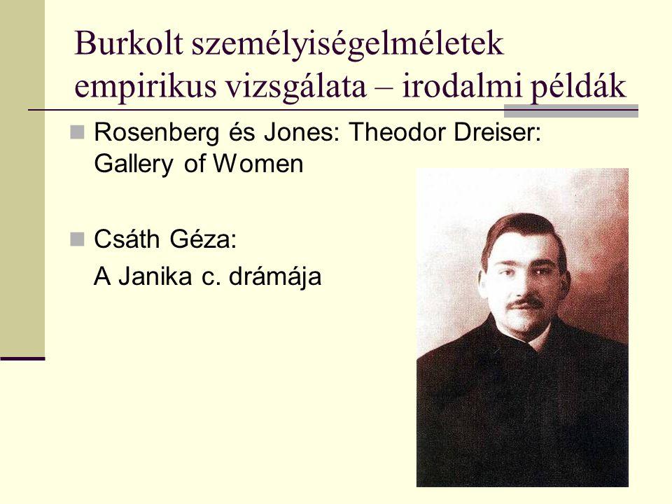 Burkolt személyiségelméletek empirikus vizsgálata – irodalmi példák Rosenberg és Jones: Theodor Dreiser: Gallery of Women Csáth Géza: A Janika c.
