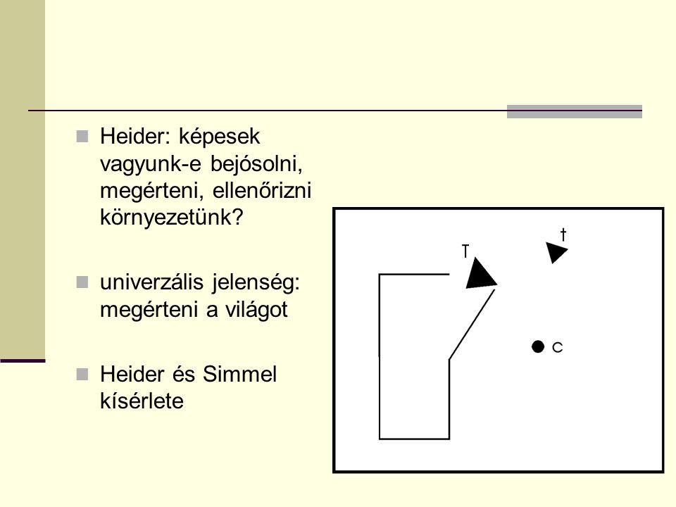 Heider: képesek vagyunk-e bejósolni, megérteni, ellenőrizni környezetünk? univerzális jelenség: megérteni a világot Heider és Simmel kísérlete