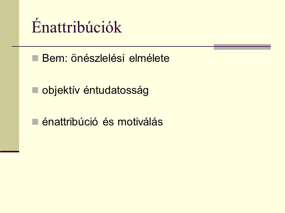 Énattribúciók Bem: önészlelési elmélete objektív éntudatosság énattribúció és motiválás