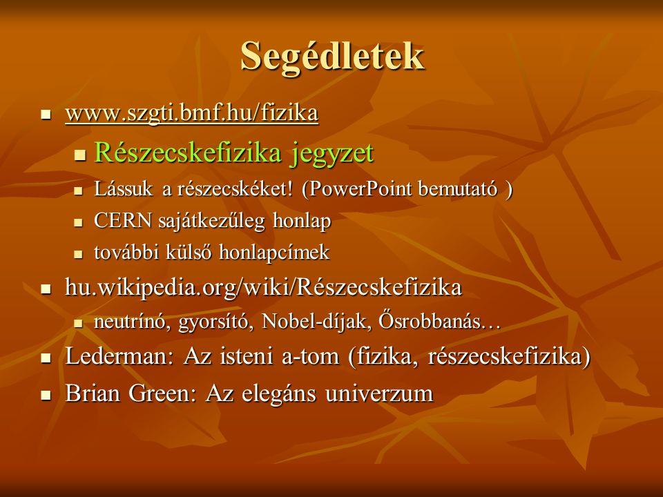 Részecskefizika Budapesti Műszaki Fősikola Fizika II. Horváth Árpád
