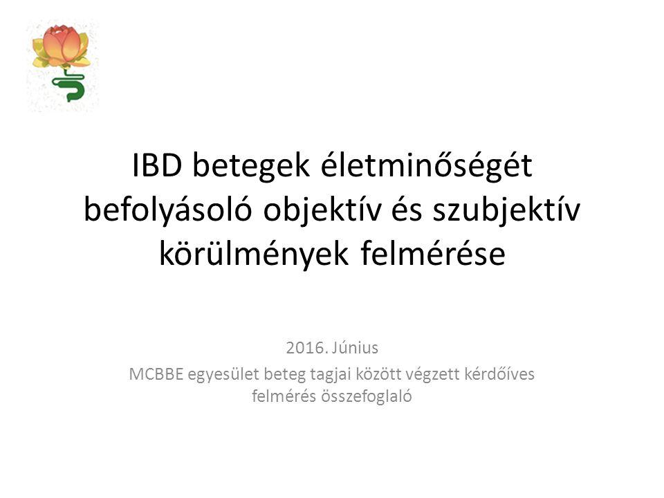 IBD betegek életminőségét befolyásoló objektív és szubjektív körülmények felmérése 2016. Június MCBBE egyesület beteg tagjai között végzett kérdőíves