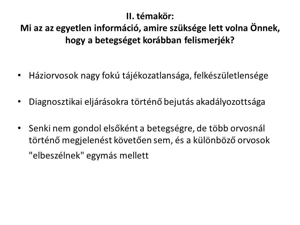 II. témakör: Mi az az egyetlen információ, amire szüksége lett volna Önnek, hogy a betegséget korábban felismerjék? Háziorvosok nagy fokú tájékozatlan