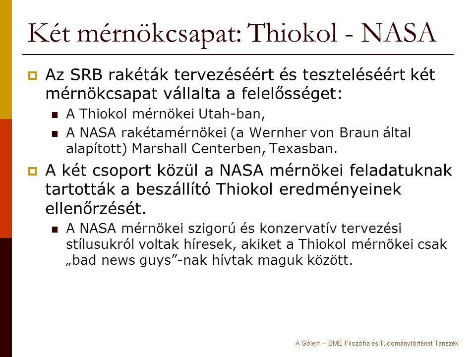 Két mérnökcsapat: Thiokol - NASA  Az SRB rakéták tervezéséért és teszteléséért két mérnökcsapat vállalta a felelősséget: A Thiokol mérnökei Utah-ban, A NASA rakétamérnökei (a Wernher von Braun által alapított) Marshall Centerben, Texasban.