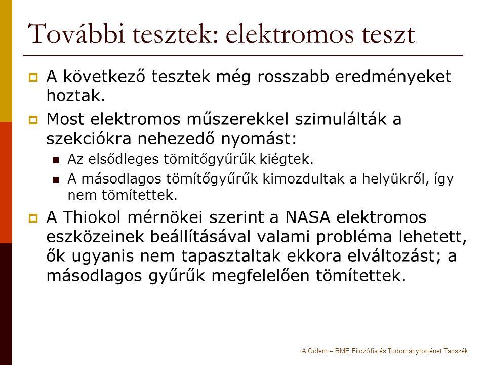 További tesztek: elektromos teszt  A következő tesztek még rosszabb eredményeket hoztak.