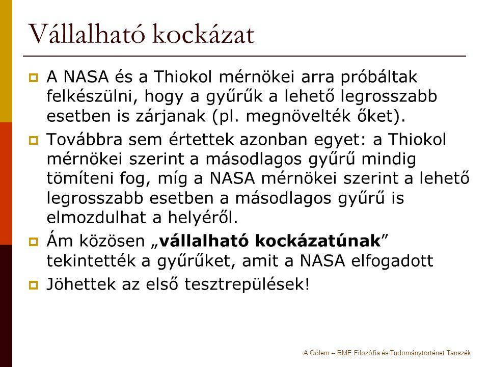 Vállalható kockázat  A NASA és a Thiokol mérnökei arra próbáltak felkészülni, hogy a gyűrűk a lehető legrosszabb esetben is zárjanak (pl.
