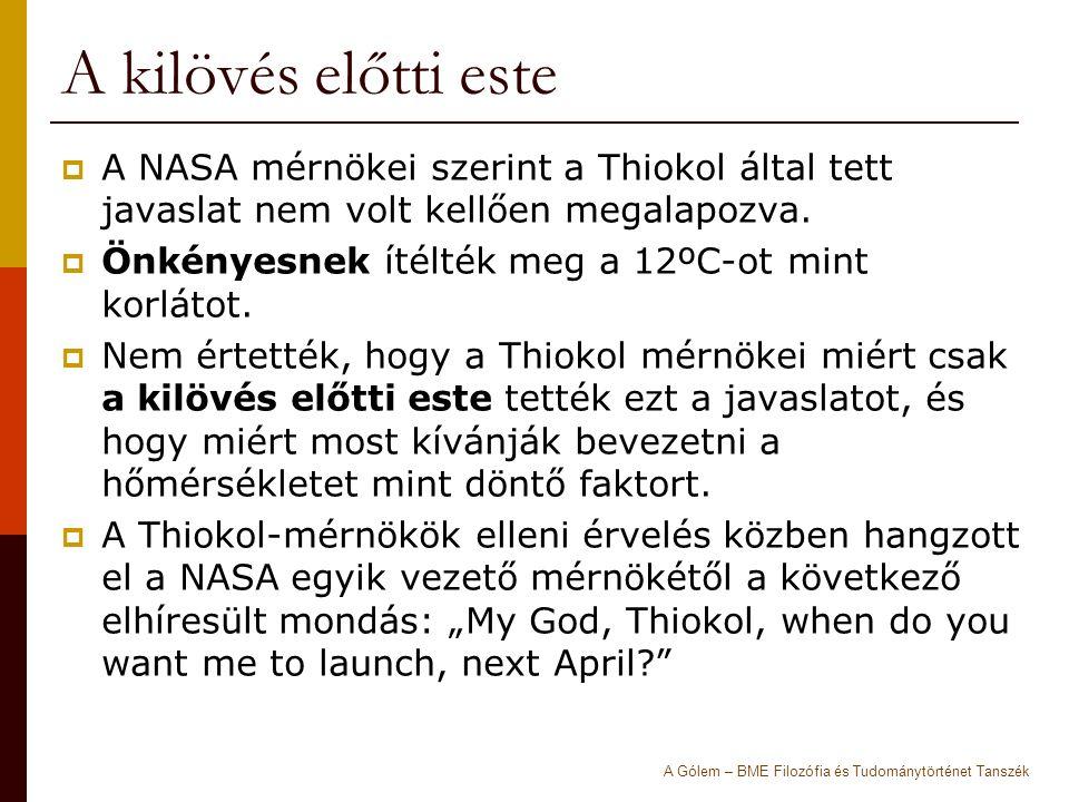 A kilövés előtti este  A NASA mérnökei szerint a Thiokol által tett javaslat nem volt kellően megalapozva.