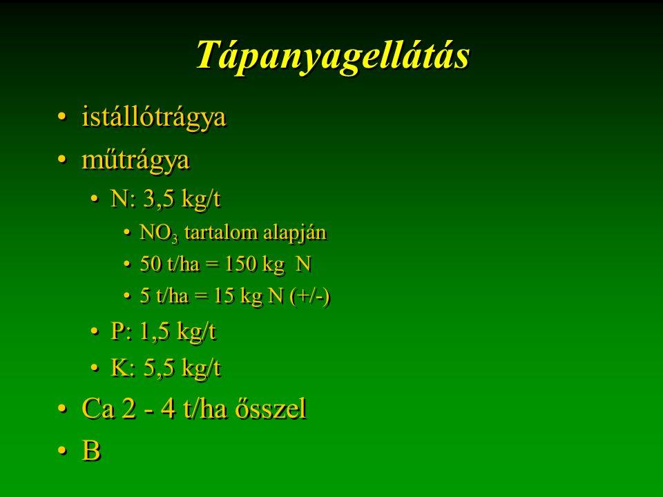 Tápanyagellátás istállótrágya műtrágya N: 3,5 kg/t NO 3 tartalom alapján 50 t/ha = 150 kg N 5 t/ha = 15 kg N (+/-) P: 1,5 kg/t K: 5,5 kg/t Ca 2 - 4 t/ha ősszel B istállótrágya műtrágya N: 3,5 kg/t NO 3 tartalom alapján 50 t/ha = 150 kg N 5 t/ha = 15 kg N (+/-) P: 1,5 kg/t K: 5,5 kg/t Ca 2 - 4 t/ha ősszel B