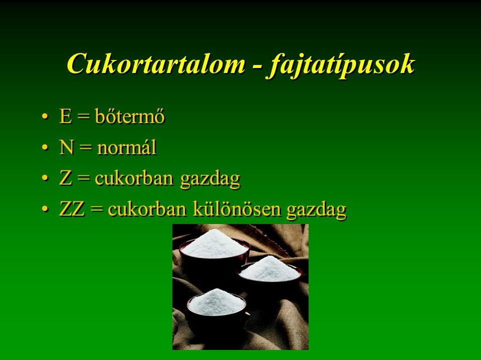 Cukortartalom - fajtatípusok E = bőtermő N = normál Z = cukorban gazdag ZZ = cukorban különösen gazdag E = bőtermő N = normál Z = cukorban gazdag ZZ =