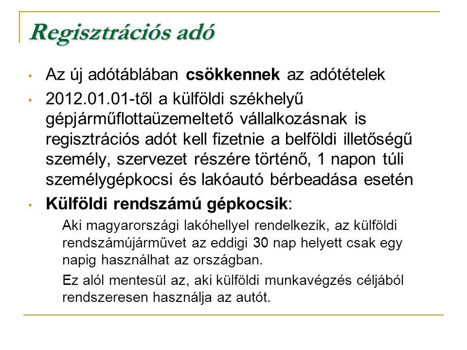 Regisztrációs adó Az új adótáblában csökkennek az adótételek 2012.01.01-től a külföldi székhelyű gépjárműflottaüzemeltető vállalkozásnak is regisztrációs adót kell fizetnie a belföldi illetőségű személy, szervezet részére történő, 1 napon túli személygépkocsi és lakóautó bérbeadása esetén Külföldi rendszámú gépkocsik: Aki magyarországi lakóhellyel rendelkezik, az külföldi rendszámújárművet az eddigi 30 nap helyett csak egy napig használhat az országban.