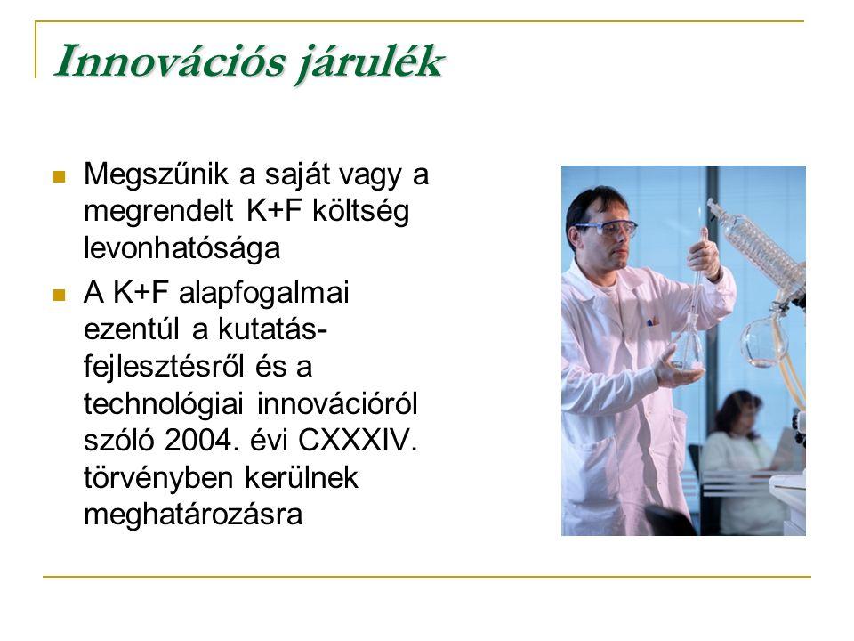 Innovációs járulék Megszűnik a saját vagy a megrendelt K+F költség levonhatósága A K+F alapfogalmai ezentúl a kutatás- fejlesztésről és a technológiai innovációról szóló 2004.
