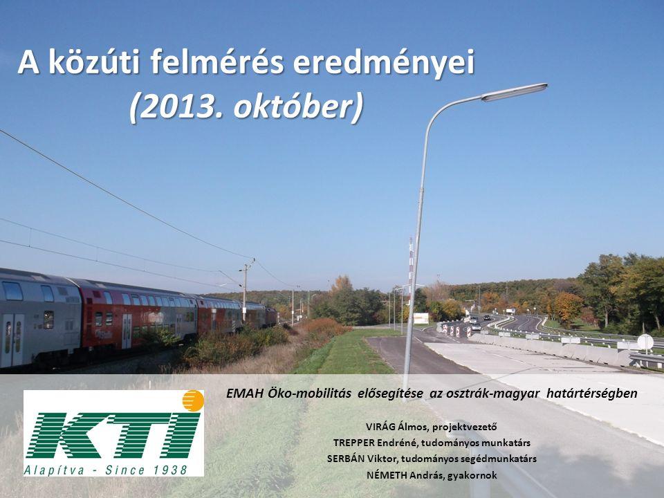 A felmért határátkelőhelyek 2013.10.15 kedd 2013.10.18 péntek 2013.10.20 vasárnap
