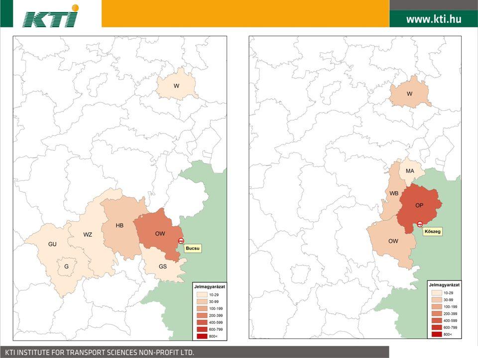 A közúti célforgalmi kikérdezés eredményei 7 Hivatásforgalmi vizsgálatok (rendszeres munkába járó hétköznapi forgalom)