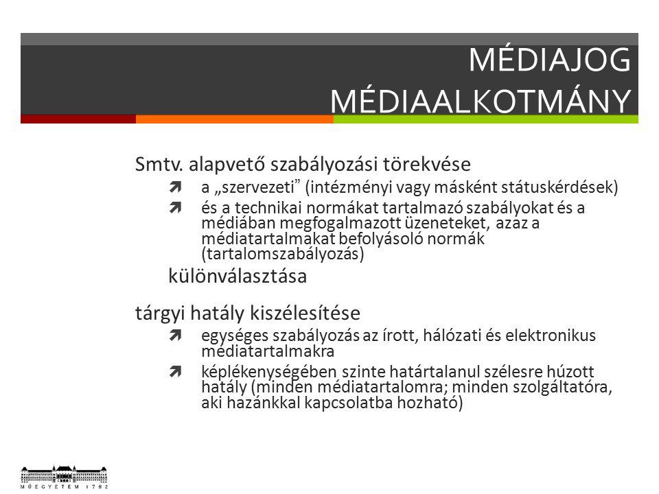 MÉDIAJOG MÉDIATÖRVÉNY NEMZETI MÉDIA- ÉS HÍRKÖZLÉSI HATÓSÁG  szabályozó, felügyelő és végrehajtó szerv  Nemzeti Hírközlési és Informatikai Tanács: Kormány tanácsadó szerve vonatkozó kérdésben  Médiatanács: tényleges felügyelő szerv  elnök+4 tag, OGY választja őket 9 (!) évre  ellenőrzi és biztosítja a sajtószab.