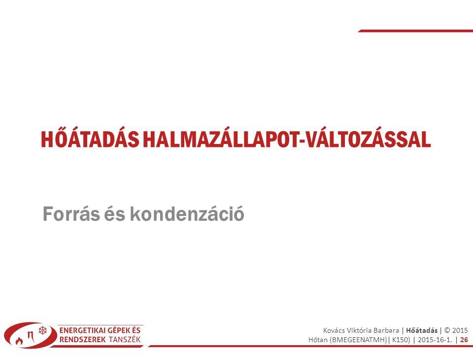 Kovács Viktória Barbara | Hőátadás | © 2015 Hőtan (BMEGEENATMH)| K150) | 2015-16-1. | 26 HŐÁTADÁS HALMAZÁLLAPOT-VÁLTOZÁSSAL Forrás és kondenzáció