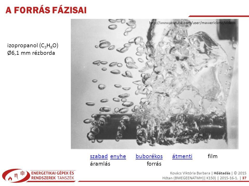 Kovács Viktória Barbara | Hőátadás | © 2015 Hőtan (BMEGEENATMH)| K150) | 2015-16-1. | 37 A FORRÁS FÁZISAI izopropanol (C 3 H 8 O) Ø6,1 mm rézborda sza