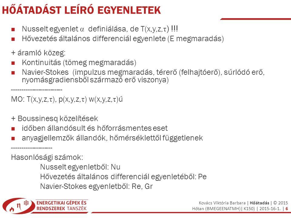 Kovács Viktória Barbara | Hőátadás | © 2015 Hőtan (BMEGEENATMH)| K150) | 2015-16-1. | 6 HŐÁTADÁST LEÍRÓ EGYENLETEK Nusselt egyenlet α definiálása, de