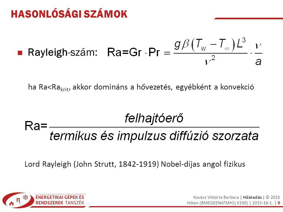 Kovács Viktória Barbara | Hőátadás | © 2015 Hőtan (BMEGEENATMH)| K150) | 2015-16-1. | 9 HASONLÓSÁGI SZÁMOK Rayleigh-szám: ha Ra<Ra krit, akkor dominán