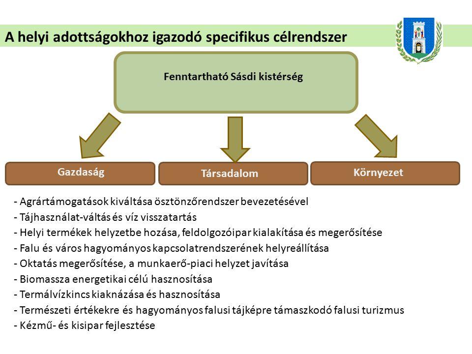 A helyi adottságokhoz igazodó specifikus célrendszer Fenntartható Sásdi kistérség Gazdaság - Agrártámogatások kiváltása ösztönzőrendszer bevezetésével - Tájhasználat-váltás és víz visszatartás - Helyi termékek helyzetbe hozása, feldolgozóipar kialakítása és megerősítése - Falu és város hagyományos kapcsolatrendszerének helyreállítása - Oktatás megerősítése, a munkaerő-piaci helyzet javítása - Biomassza energetikai célú hasznosítása - Termálvízkincs kiaknázása és hasznosítása - Természeti értékekre és hagyományos falusi tájképre támaszkodó falusi turizmus - Kézmű- és kisipar fejlesztése Társadalom Környezet