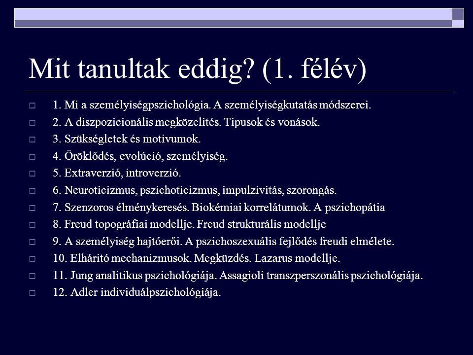 Mit tanultak eddig. (1. félév)  1. Mi a személyiségpszichológia.