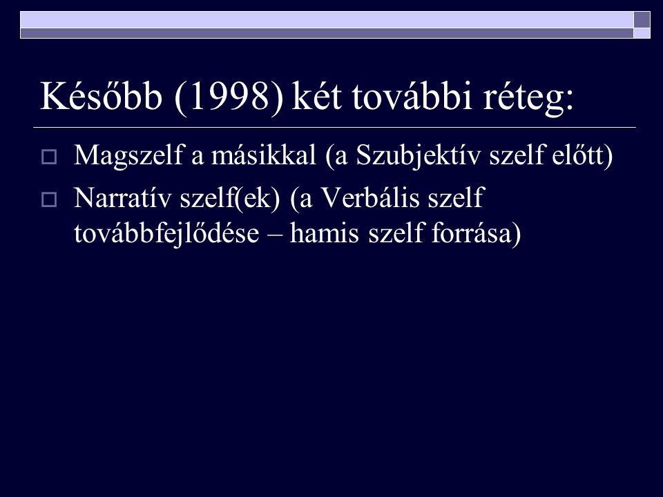 Később (1998) két további réteg:  Magszelf a másikkal (a Szubjektív szelf előtt)  Narratív szelf(ek) (a Verbális szelf továbbfejlődése – hamis szelf forrása)
