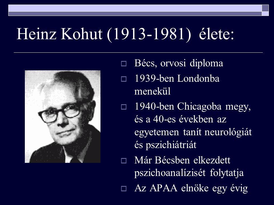 Heinz Kohut (1913-1981) élete:  Bécs, orvosi diploma  1939-ben Londonba menekül  1940-ben Chicagoba megy, és a 40-es években az egyetemen tanít neurológiát és pszichiátriát  Már Bécsben elkezdett pszichoanalízisét folytatja  Az APAA elnöke egy évig