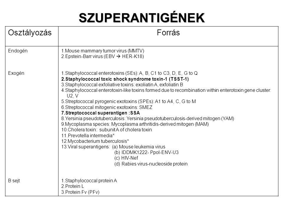 SZUPERANTIGÉNEK OsztályozásForrás Endogén Exogén B sejt 1.Mouse mammary tumor virus (MMTV) 2.Epstein-Barr virus (EBV  HER-K18) 1.Staphylococcal enterotoxins (SEs): A, B, C1 to C3, D, E, G to Q 2.Staphylococcal toxic shock syndrome toxin-1 (TSST-1) 3.Staphylococcal exfoliative toxins: exoliatin A, exfoliatin B 4.Staphylococcal enterotoxin-like toxins formed due to recombination within enterotoxin gene cluster: U2, V 5.Streptococcal pyrogenic exotoxins (SPEs): A1 to A4, C, G to M 6.Streptococcal mitogenic exotoxins: SMEZ 7.Streptococcal superantigen :SSA 8.Yersinia pseudotuberculosis: Yersinia pseudotuberculosis-derived mitogen (YAM) 9.Mycoplasma species: Mycoplasma arthritidis-derived mitogen (MAM) 10.Cholera toxin: subunit A of cholera toxin 11.Prevotella intermedia* 12.Mycobacterium tuberculosis* 13.Viral superantigens: (a) Mouse leukemia virus (b) IDDMK1222- Ppol-ENV-U3 (c) HIV-Nef (d) Rabies virus-nucleoside protein 1.Staphylococcal protein A 2.Protein L 3.Protein Fv (PFv)