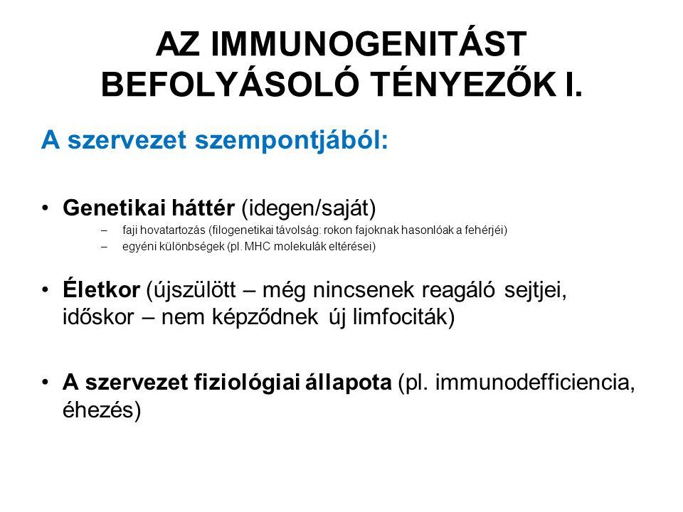 """Az antigén szempontjából: Az antigén fizikai-kémiai sajátságai –méret/komplexitás (nagyobb antigén  több epitóp, """"hordozó szerepe) –korpuszkuláris (sejt, kolloid) vagy oldott állapot –denaturált vagy natív (epitópok!) –lebonthatóság (antigén prezentáció APC által) Hozzáférhetőség (saját szemlencse krisztallin fehérjék elzártak az immunrendszertől) AZ IMMUNOGENITÁST BEFOLYÁSOLÓ TÉNYEZŐK II."""