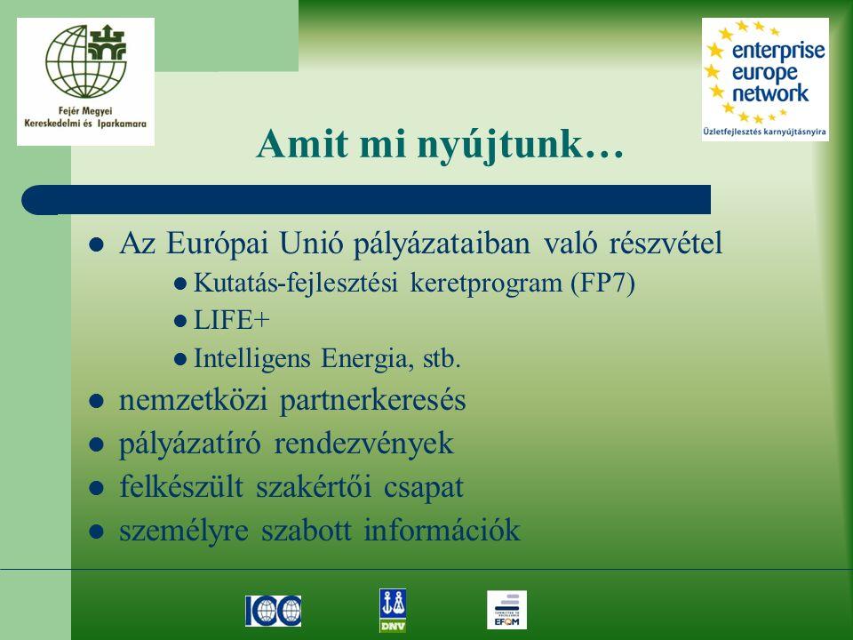 Amit mi nyújtunk… Az Európai Unió pályázataiban való részvétel Kutatás-fejlesztési keretprogram (FP7) LIFE+ Intelligens Energia, stb. nemzetközi partn