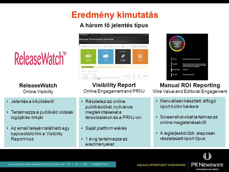 Eredmény kimutatás ReleaseWatch Online Visibility Manual ROI Reporting Wire Value and Editorial Engagement Visibility Report Online Engagement and PRNJ Jelentés a kiküldésről Tartalmazza a publikáló oldalak logóját és linkjét Az email tetején található egy kapcsolódó link a Visibility Report-hoz Részletezi az online publikációkat, nyilvános megtekintéseket a társoldalakon és a PRNJ-on Saját platform elérés 1 évig tartalmazza az eredményeket Manuálisan készített, átfogó riport külön kérésre Screenshot-okat tartalmaz az online megjelenésekről A legteljeskörűbb, alaposan részletezett riport típus A három fő jelentés típus