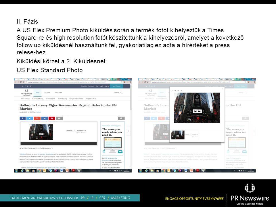 II. Fázis A US Flex Premium Photo kiküldés során a termék fotót kihelyeztük a Times Square-re és high resolution fotót készítettünk a kihelyezésről, a