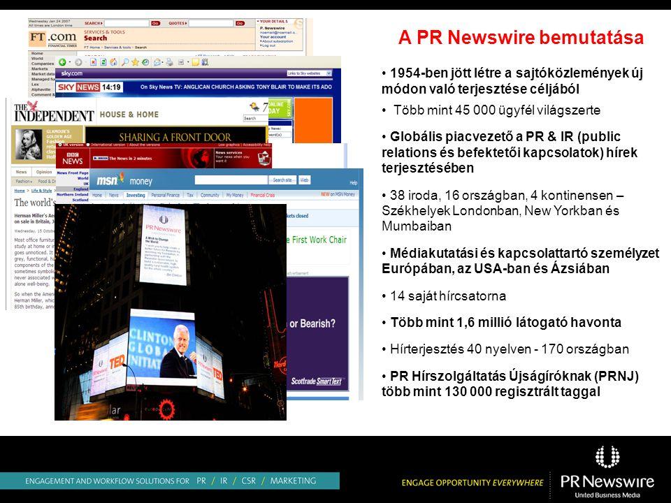 A PR Newswire bemutatása 1954-ben jött létre a sajtóközlemények új módon való terjesztése céljából Több mint 45 000 ügyfél világszerte Globális piacvezető a PR & IR (public relations és befektetői kapcsolatok) hírek terjesztésében 38 iroda, 16 országban, 4 kontinensen – Székhelyek Londonban, New Yorkban és Mumbaiban Médiakutatási és kapcsolattartó személyzet Európában, az USA-ban és Ázsiában 14 saját hírcsatorna Több mint 1,6 millió látogató havonta Hírterjesztés 40 nyelven - 170 országban PR Hírszolgáltatás Újságíróknak (PRNJ) több mint 130 000 regisztrált taggal