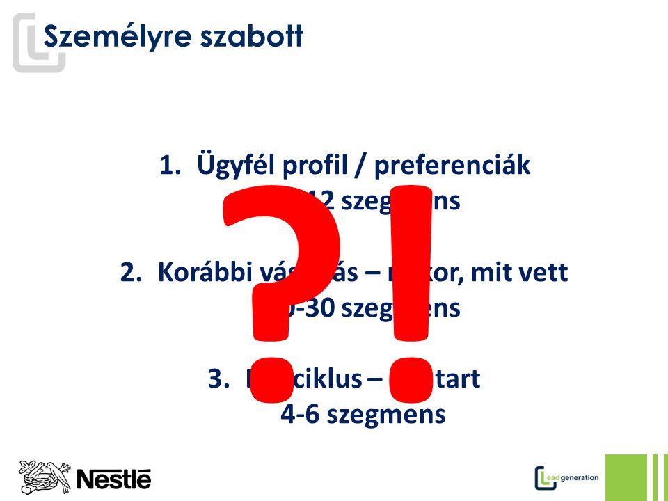 Személyre szabott 1.Ügyfél profil / preferenciák 10-12 szegmens 2.Korábbi vásárlás – mikor, mit vett 20-30 szegmens 3.Életciklus – hol tart 4-6 szegmens ?!