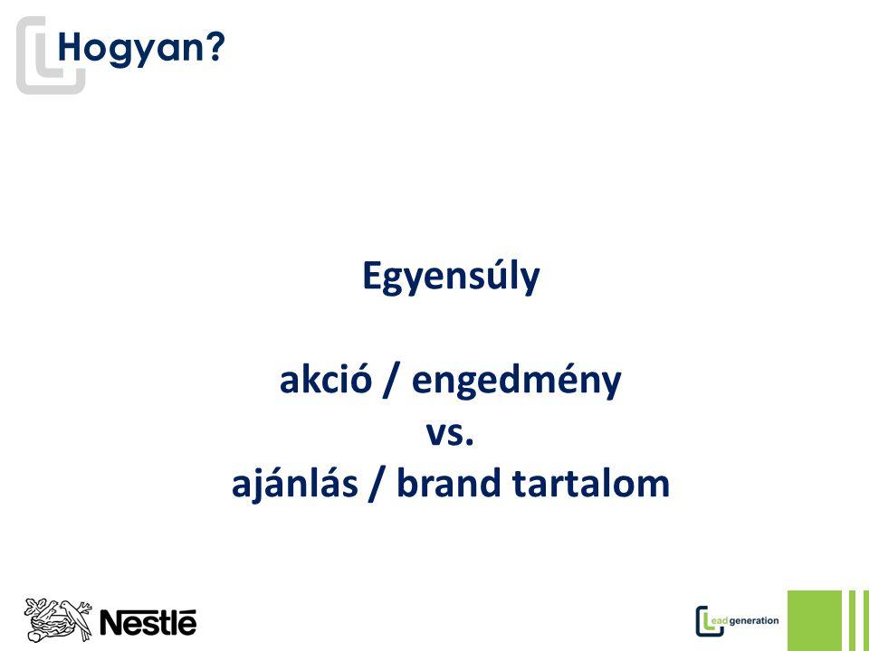 Hogyan Egyensúly akció / engedmény vs. ajánlás / brand tartalom