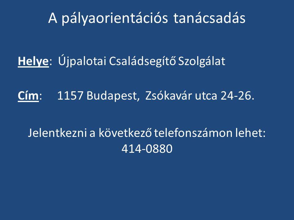A pályaorientációs tanácsadás Helye: Újpalotai Családsegítő Szolgálat Cím: 1157 Budapest, Zsókavár utca 24-26.