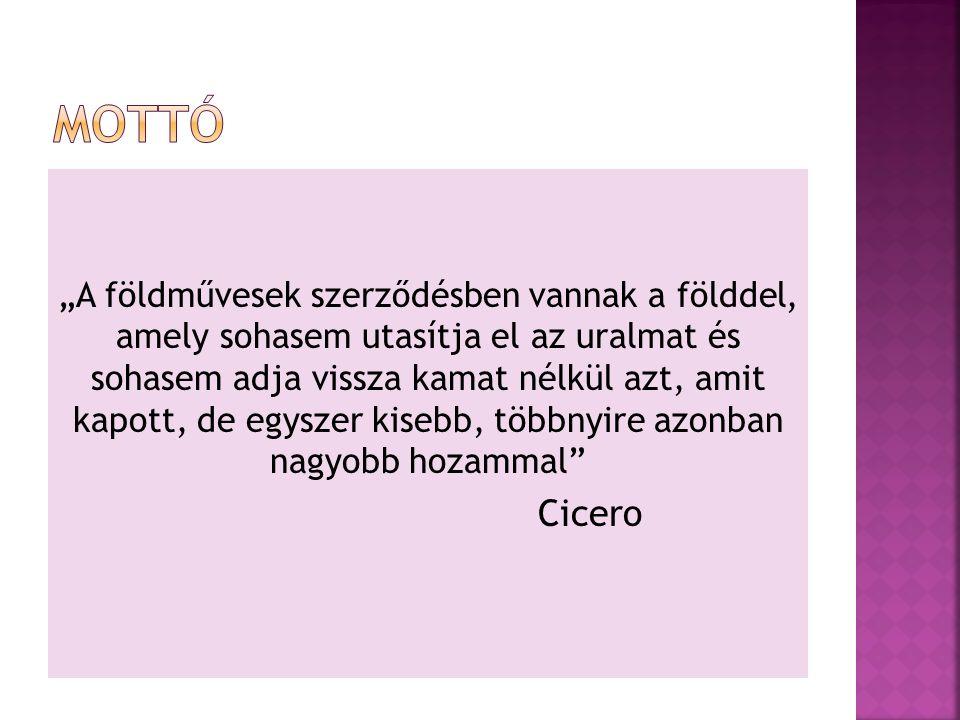 """""""A földművesek szerződésben vannak a földdel, amely sohasem utasítja el az uralmat és sohasem adja vissza kamat nélkül azt, amit kapott, de egyszer kisebb, többnyire azonban nagyobb hozammal Cicero"""