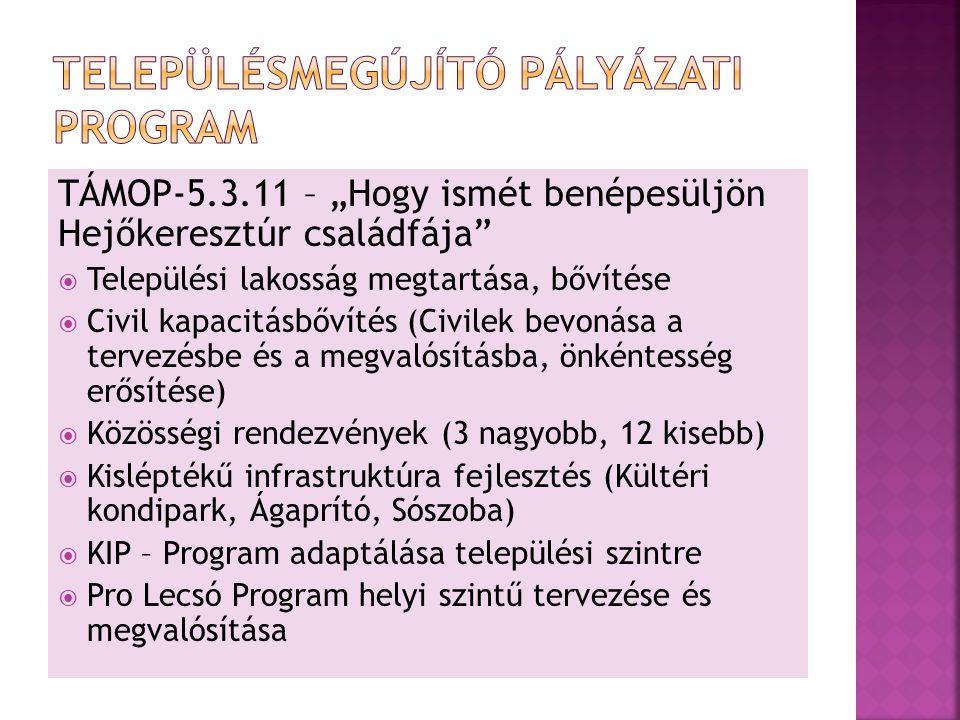 """TÁMOP-5.3.11 – """"Hogy ismét benépesüljön Hejőkeresztúr családfája  Települési lakosság megtartása, bővítése  Civil kapacitásbővítés (Civilek bevonása a tervezésbe és a megvalósításba, önkéntesség erősítése)  Közösségi rendezvények (3 nagyobb, 12 kisebb)  Kisléptékű infrastruktúra fejlesztés (Kültéri kondipark, Ágaprító, Sószoba)  KIP – Program adaptálása települési szintre  Pro Lecsó Program helyi szintű tervezése és megvalósítása"""