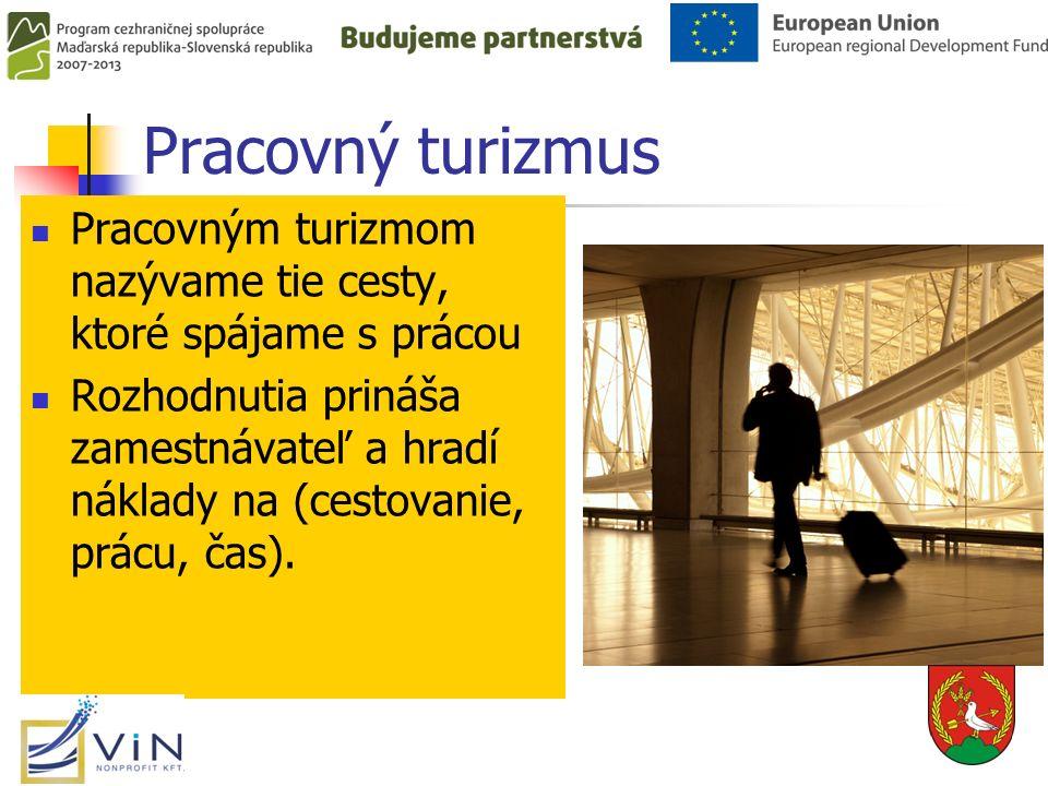 Pracovný turizmus Typy: Obchodný turizmus – už existujúci kapcsolatok feltárása.