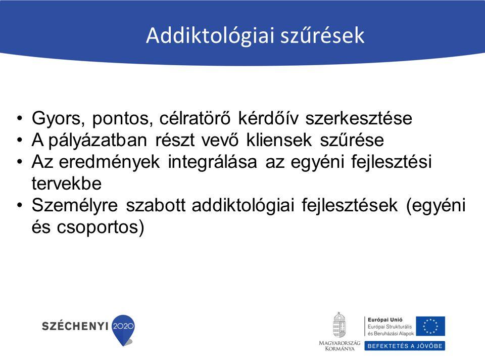 Addiktológiai szűrések Gyors, pontos, célratörő kérdőív szerkesztése A pályázatban részt vevő kliensek szűrése Az eredmények integrálása az egyéni fejlesztési tervekbe Személyre szabott addiktológiai fejlesztések (egyéni és csoportos)
