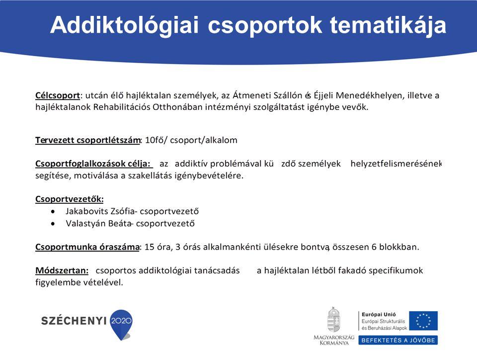 Addiktológiai csoportok tematikája