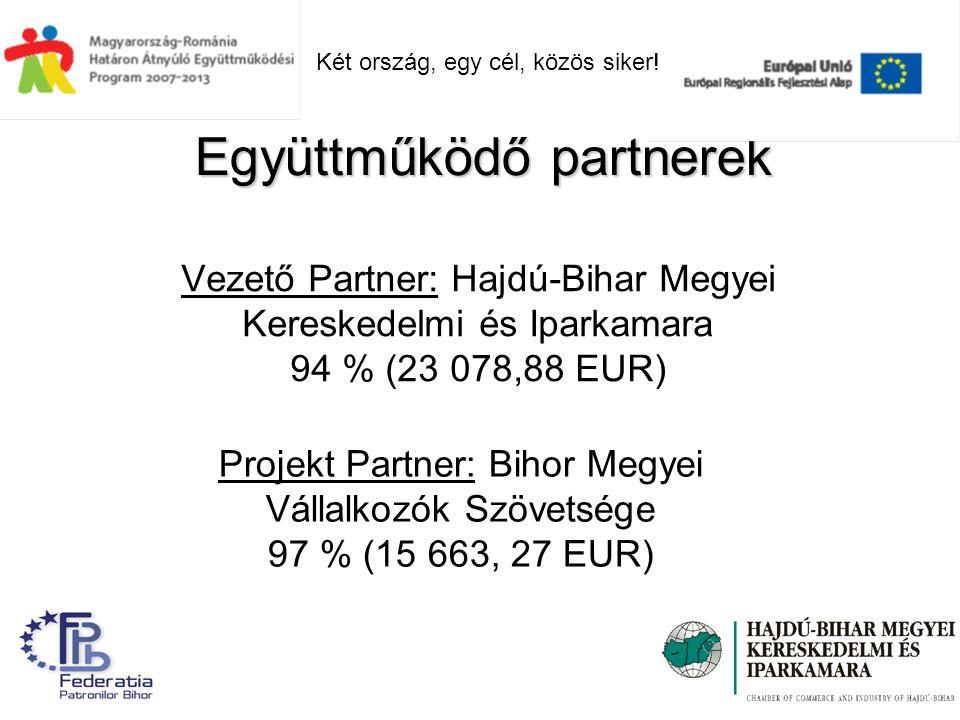 Vezető Partner: Hajdú-Bihar Megyei Kereskedelmi és Iparkamara 94 % (23 078,88 EUR) Együttműködő partnerek Projekt Partner: Bihor Megyei Vállalkozók Szövetsége 97 % (15 663, 27 EUR) Két ország, egy cél, közös siker!