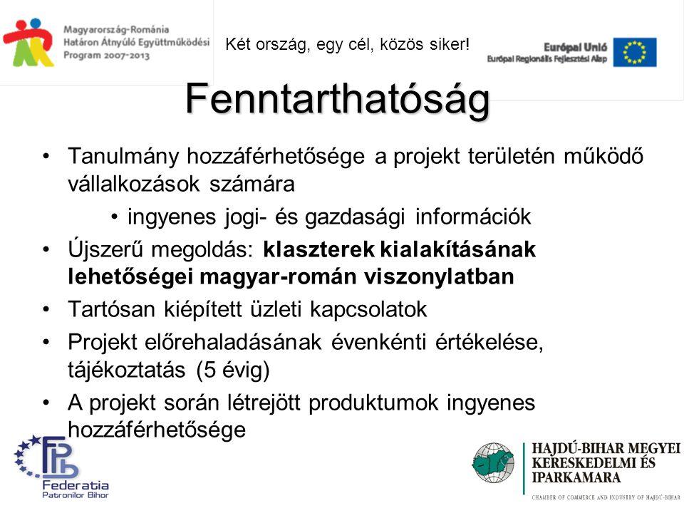 Tanulmány hozzáférhetősége a projekt területén működő vállalkozások számára ingyenes jogi- és gazdasági információk Újszerű megoldás: klaszterek kialakításának lehetőségei magyar-román viszonylatban Tartósan kiépített üzleti kapcsolatok Projekt előrehaladásának évenkénti értékelése, tájékoztatás (5 évig) A projekt során létrejött produktumok ingyenes hozzáférhetősége Fenntarthatóság Két ország, egy cél, közös siker!